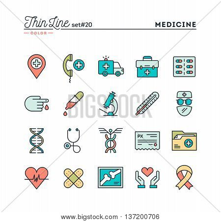 Medicine health care emergency pharmacology and more thin line color icons set vector illustration