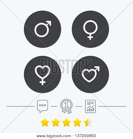 Male and female sex icons. Man and Woman signs with hearts symbols. Chat, award medal and report linear icons. Star vote ranking. Vector