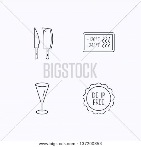 Kitchen knives, glass and heat-resistant icons. DEHP free linear sign. Flat linear icons on white background. Vector