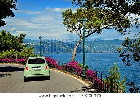 Beautiful way to Portofino with sea landscape
