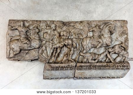 Fragment Of The Ancient Roman Sarcophagus