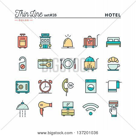 Hotel accommodation room service restaurant and more thin line color icons set vector illustration