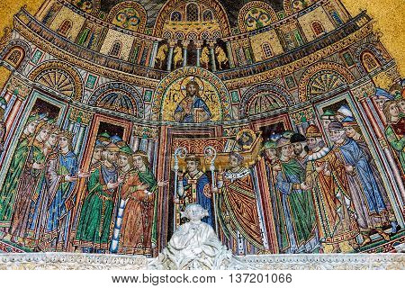 13Th-century Mosaic Of The Reception Of St. Mark's Body Into S