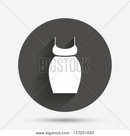 Pregnant woman dress sign icon. Maternity clothing symbol Circle flat button with shadow. Vector
