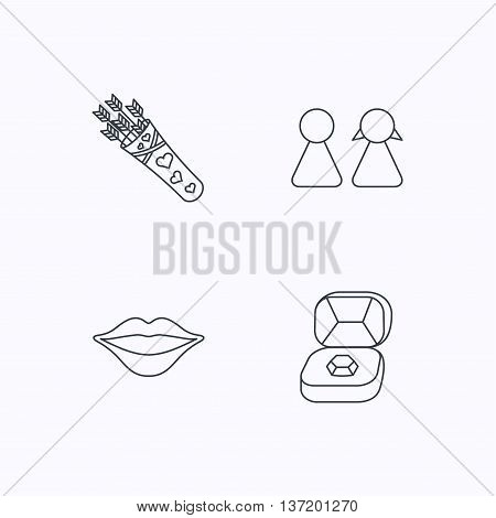 Couple, kiss lips and jewelry icons. Valentine amour arrows linear sign. Flat linear icons on white background. Vector