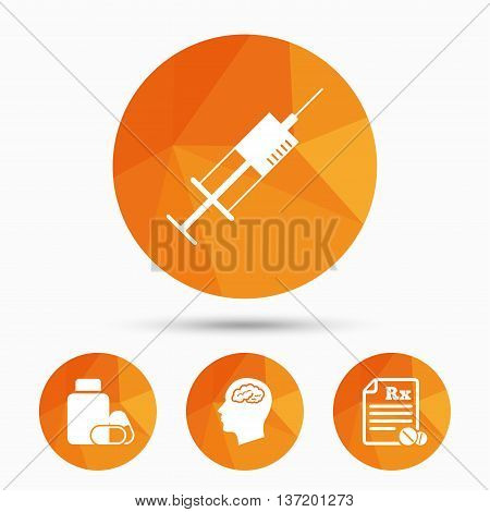 Medicine icons. Medical tablets bottle, head with brain, prescription Rx and syringe signs. Pharmacy or medicine symbol. Triangular low poly buttons with shadow. Vector