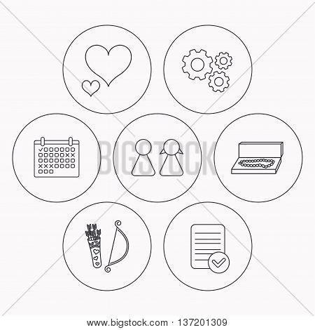 Love heart, jewelry and couple icons. Valentine amour arrows linear signs. Check file, calendar and cogwheel icons. Vector