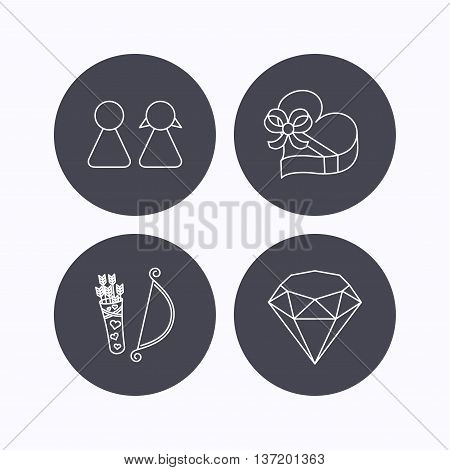 Couple, brilliant and engagement gift box icons. Valentine amour arrows linear signs. Flat icons in circle buttons on white background. Vector