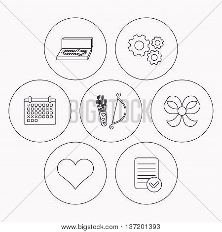 Love heart, jewelry and bow-knot icons. Valentine amour arrows linear sign. Check file, calendar and cogwheel icons. Vector
