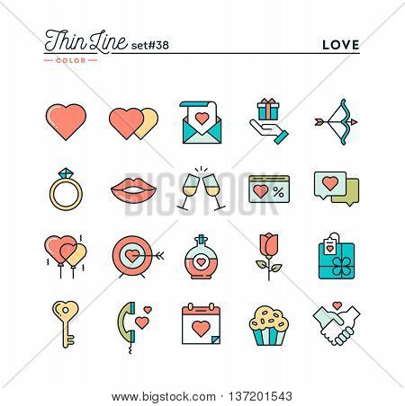 Love Valentine's day dating romance and more thin line color icons set vector illustration