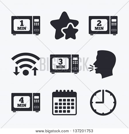 Microwave oven icons. Cook in electric stove symbols. Heat 1, 2, 3 and 4 minutes signs. Wifi internet, favorite stars, calendar and clock. Talking head. Vector