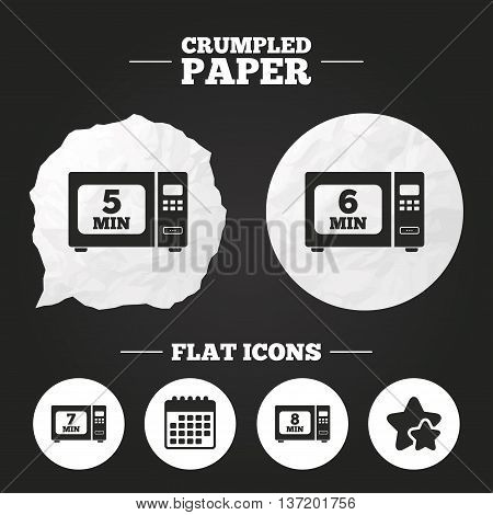 Crumpled paper speech bubble. Microwave oven icons. Cook in electric stove symbols. Heat 5, 6, 7 and 8 minutes signs. Paper button. Vector