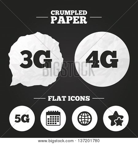 Crumpled paper speech bubble. Mobile telecommunications icons. 3G, 4G and 5G technology symbols. World globe sign. Paper button. Vector