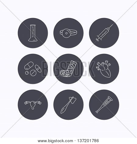 Syringe, beaker and pills icons. Crutch, medical hammer and mirror linear signs. Heart, broken leg and uterus ovary icons. Flat icons in circle buttons on white background. Vector