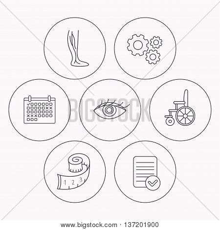 Vein varicose, wheelchair and weight loss icons. Eye linear sign. Check file, calendar and cogwheel icons. Vector