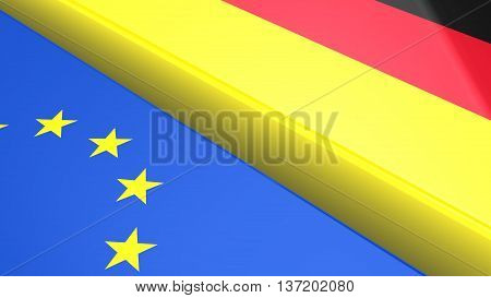 The european and German flag with a huge gap separating them 3D illustration brexit concept