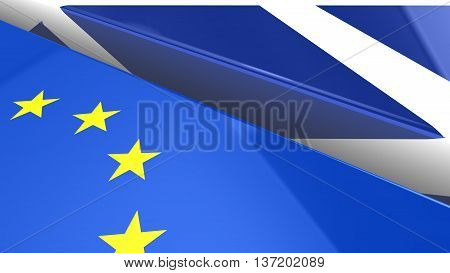 The european and Scottish flag with a huge gap separating them 3D illustration brexit concept