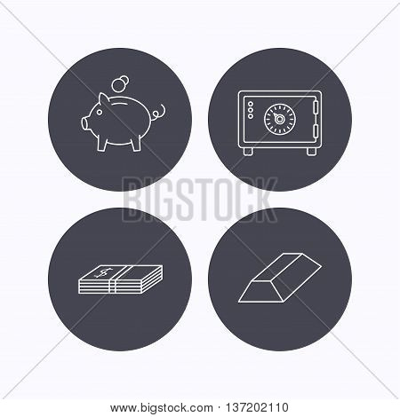 Piggy bank, cash money and safe icons. Gold bar linear sign. Flat icons in circle buttons on white background. Vector
