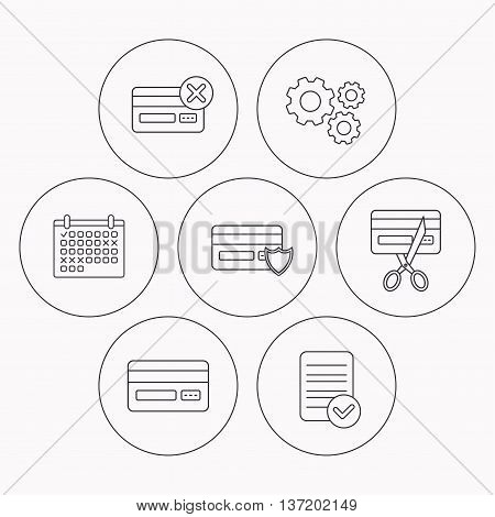 Bank credit card icons. Banking, protection and expired debit card linear signs. Check file, calendar and cogwheel icons. Vector