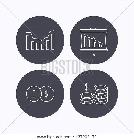 Banking, cash money and statistics icons. Dynamics, currency exchange linear signs. Flat icons in circle buttons on white background. Vector