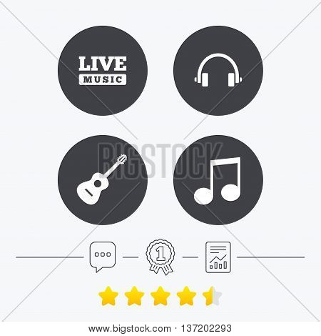 Musical elements icons. Musical note key and Live music symbols. Headphones and acoustic guitar signs. Chat, award medal and report linear icons. Star vote ranking. Vector