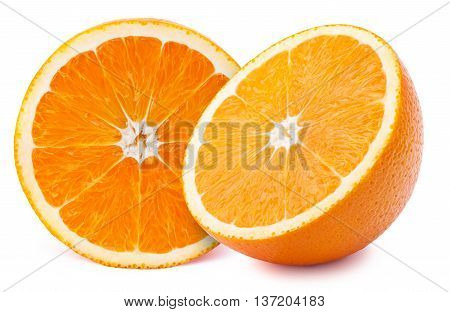 Perfectly retouched sliced halfs of oranges isolated on the white background with clipping path