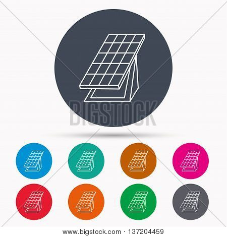 Solar collector icon. Sunlight energy generation sign. Innovation battery power symbol. Icons in colour circle buttons. Vector