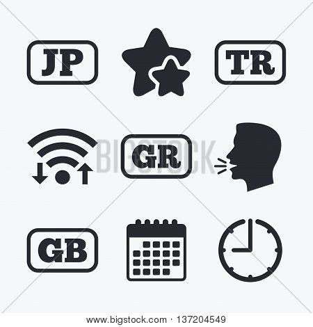 Language icons. JP, TR, GR and GB translation symbols. Japan, Turkey, Greece and England languages. Wifi internet, favorite stars, calendar and clock. Talking head. Vector