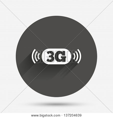 3G sign icon. Mobile telecommunications technology symbol. Circle flat button with shadow. Vector