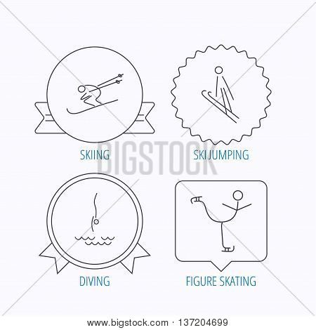 Diving, figure skating and skiing icons. Ski jumping linear sign. Award medal, star label and speech bubble designs. Vector
