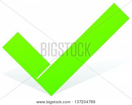 Green Check Mark, Tick Icon With Snick And Shadow Isolated On White. Approve, Ok, Correct, Confirm I