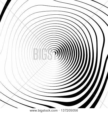 Irregular Spiral Background In Square Format. Abstract Geometric Ripple Effect. Inward Hypnotic Spir
