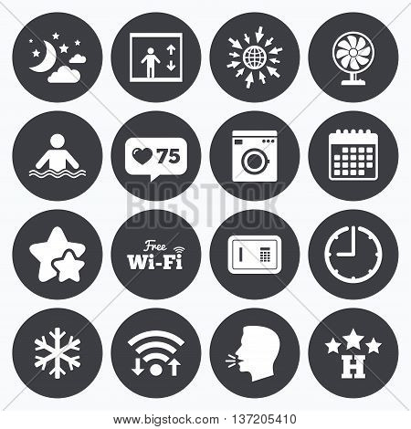 Calendar, wifi and clock symbols. Like counter, stars symbols. Hotel, apartment service icons. Washing machine. Wifi, air conditioning and swimming pool symbols. Talking head, go to web symbols. Vector