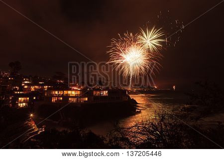 Laguna Beach, California, July 4, 2016: Laguna Beach fireworks / city lights on the forth of July celebration