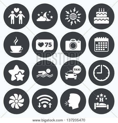 Calendar, wifi and clock symbols. Like counter, stars symbols. Hotel, apartment service icons. Swimming pool. Ventilation, birthday party and gay-friendly symbols. Talking head, go to web symbols. Vector