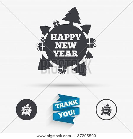 Happy new year globe sign icon. Gifts and trees symbol. Full rotation 360. Flat icons. Buttons with icons. Thank you ribbon. Vector