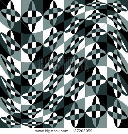 Geometric Pattern With Ripple, Wavy Distortion, Warp Effect. Abstract Monochrome Texture / Backgroun