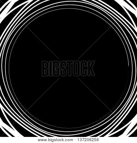 Irregular / Asymmetric Radiating Circular Abstract Geometric Element. Monochrome Vector Illustration