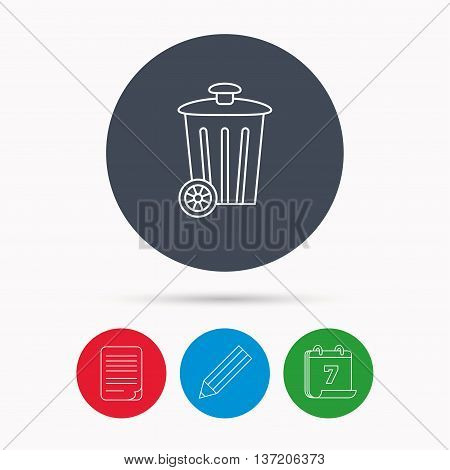Recycle bin icon. Trash container sign. Street rubbish symbol. Calendar, pencil or edit and document file signs. Vector