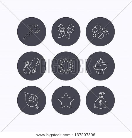 Money bag, star and bow icons. Leaf, pacifier and sun linear signs. Cupcake, pills and hammer flat line icons. Flat icons in circle buttons on white background. Vector