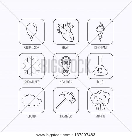 Newborn, heart and lab bulb icons. Ice cream, muffin and air balloon linear signs. Cloud and snowflake flat line icons. Flat linear icons in squares on white background. Vector