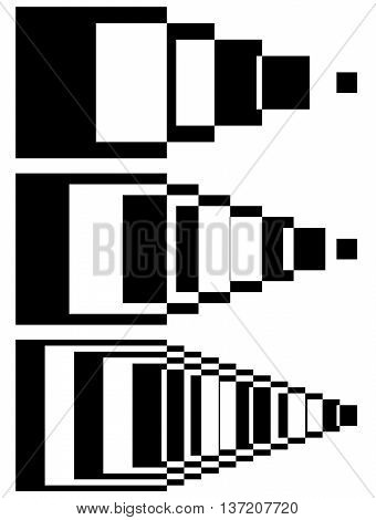 Blended Intersecting Shapes. Set Of 3 Intensity. Abstract Monochromatic  Geometric Elements.