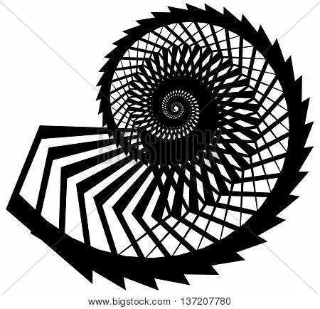 Geometric, Angular Snail, Helix, Volute Element Isolated On White. Abstract Monochrome  Non-figural