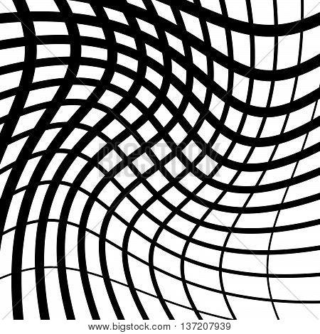 Irregular Grid, Mesh Pattern Geometric Minimal Pattern With Warped Lines.
