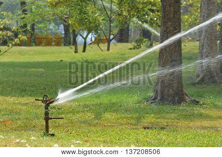 Gardening. Lawn sprinkler spraying water over green grass. Irrigation system - technique of watering in the garden.