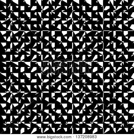 Chaotic, Irregular Repeatable Geometric Pattern. Mosaic Of Asymmetric Shapes. Monochrome Abstract Ba