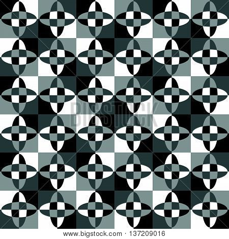 Grayscale, Monochrome Mosaic Texture, Seamlessly Repeatable Pattern.