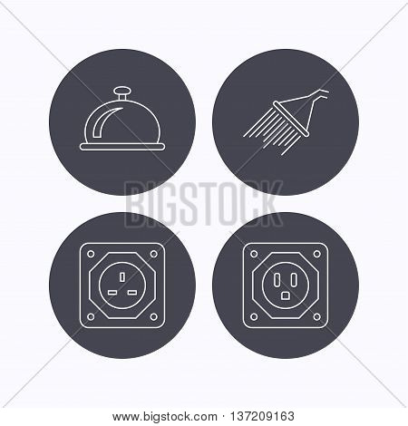Shower, UK socket and USA socket icons. Reception bell linear sign. Flat icons in circle buttons on white background. Vector