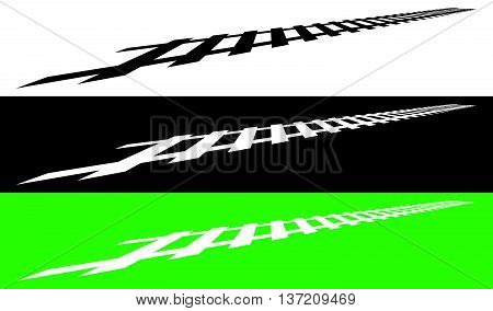 Railway, Railroad Silhouettes With Distortion Effect. Train, Metro, Subway, Tram Transportation Conc