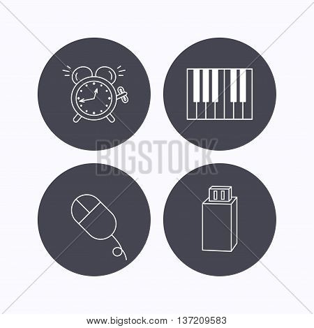 Alarm clock, USB flash and PC mouse icons. Piano linear sign. Flat icons in circle buttons on white background. Vector